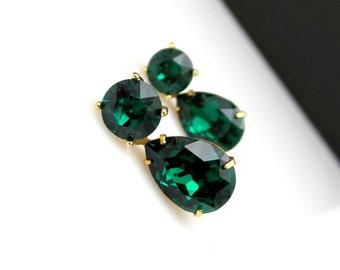 bridesmaid gift earrings christmas prom bridal wedding Swarovski emerald green round stud teardrop crystal rhinestone gold finish post