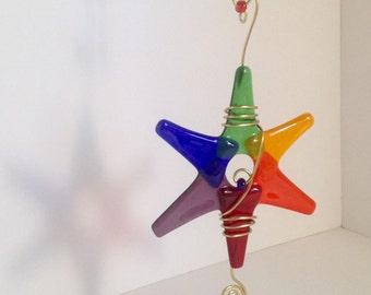Rainbow Suncatcher / Gay Pride Star / Fused Glass / Glass Ornament / Gay Wedding / Rainbow Ornament / LGBT Ornament / Christmas Ornament