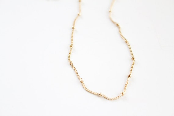 14k Gold Filled Beaded Satellite Necklace - Mini Babys Breath