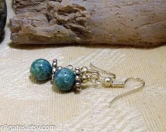 Green Jasper Silver Dangle Earrings