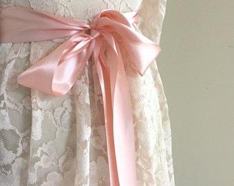 Light Peach, Navy Blue, Emerald Green Ribbon Sash Bridal sash Wedding Choose Colors