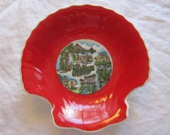 vintage CALIFORNIA souvenir trinket dish - scallop shell shaped dish