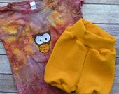 WCW Wool Interlock Pull On Bubble Shorties & Owl Tee - Dandelion - Medium Long