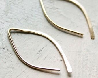 Gold Earrings - Almond Hoops (SMALL) - minimalist jewelry, gold hoop earrings, thin gold hoop earrings. open hoop, leaf earrings