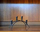 vintage danish modern black candle stick holder