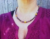 Crazy Horse Jasper and Wood Beaded Necklace - Hippie Bohemian Necklace