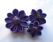 Violet Shores Kanzashi Flower Bobby Pins