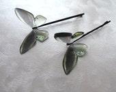 Green Birdwing Butterfly Hair Pin Pair