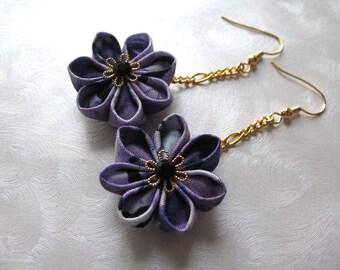 Painted Purple Kanzashi Flower Dangle Earrings