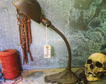 Gooseneck Lamp / Industrial Lighting / Deco Motif / Desk Lamp / Cloth Wire and Vintage style Plug