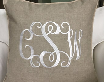 Monogrammed Linen Pillow Cover