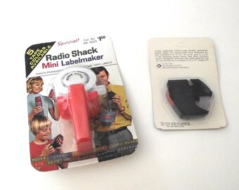 Mini Labelmaker with Red Tape, Vintage NOS Dymo Style Vinyl Labels (L2)
