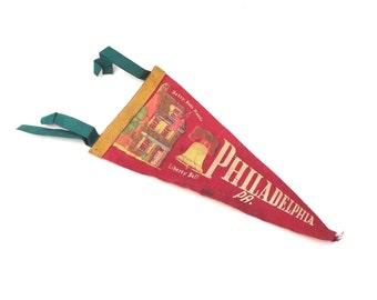 Philadelphia Souvenir Pennant, Miniature Vintage Felt Flag