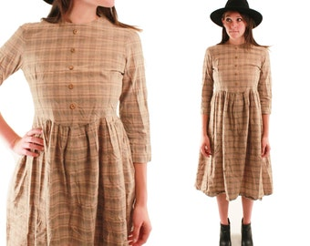 FELICITY 70s Handmade Plains Desert Sand Plaid Wooden Buttons Long Sleeve Prairie Boho Folk Western Simple Dress Small S