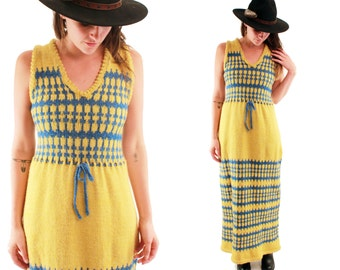 ANNIE 70s Mustard and Blue Knit Knitwear Chunky Fair Isle Geometric Maxi Wool Winter Folk Boho Hippie School Girl Sweater Dress Medium M