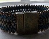 Denim Blue Beaded Kumihimo Cuff Bracelet