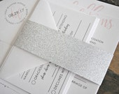 Kendall Wedding Invitation Suite with silver GLITTER Belly Band - White, Charcoal and Blush Pink, Customizable