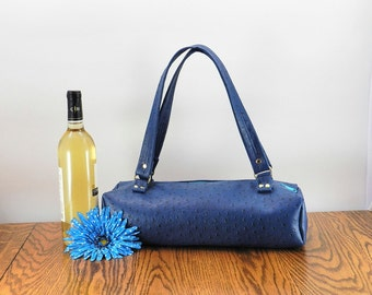 Wine bag, wine carrier, wine gift, wine purse, insulated tote, blue tote bag, Vegan Purse