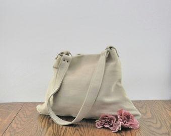 Leather Shoulder Bag, Leather Bag, Leather Purse, Leather Shoulder Purse, Soft Leather Bag, Cream Leather Bag, Cream Leather Purse