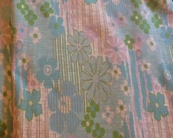 Vintage knit Floral Fabric Flowers Mint Seafoam Green Lavender Light blue