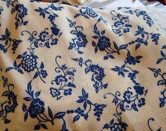 Vintage Knit Fabric Blue Flowers Vines Floral