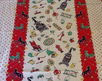 Midcentury kitchen Fabric Red Polka Dots Cotton weathervane Rooster Horse Home