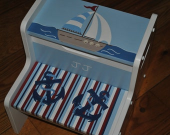 Kids Personalized  2 Step Stool - Striped - Out To Sea