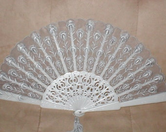Vintage Folding Fan with GRAY Embroidery