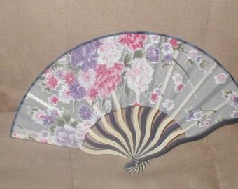 Vintage Floral Print SILK Folding Fan