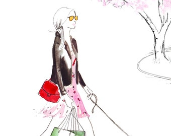 Watercolour Fashion Illustration Titled Strolling through Knightsbridge