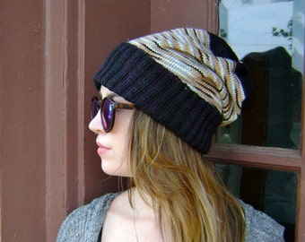 ON SALE Hand Knit Slouchy Hat - Will Fit Teens to Adult Woman or Man