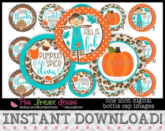 "Fall is Fab - Teal - INSTANT DOWNLOAD 1"" Bottle Cap Images 4x6 - 836"