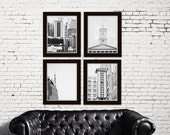 Nashville wall art black and white photography industrial decor Nashville Tennessee art gallery wall prints set of 4 city photography