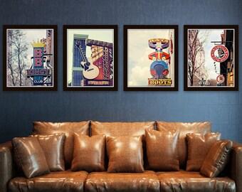 Nashville signs, set of 4, Nashville prints, country music wall art, gallery wall art photos, city photography, apartment art prints