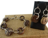 Coconut Shell, Wood, and Metal Bracelet with Sterling Fish Hook Ear Wire Dangle Earrings