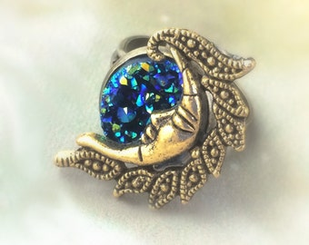 Gold Moon Ring - Boho Rings - Faux Druzy Jewelry - Gypsy Rings - Crescent Moon Jewelry - Blue Drusy Ring