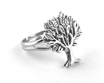 Silver Tree Ring - Tree of Life Ring - Adjustable Silver Ring - Tree Jewlery - Tree Jewelry - Silver Nature Ring 06A