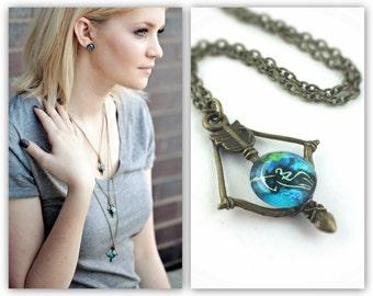 Zodiac Necklace - Bow and Arrow Necklace - Zodiac Jewelry - Archery Jewelry - Zodiac Sign Necklace - Long Bronze Arrow Necklace