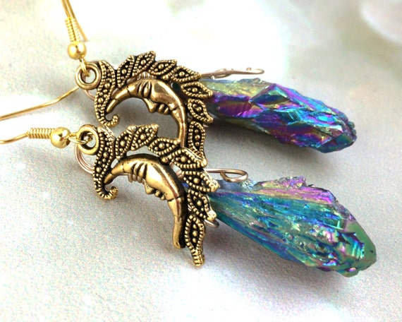 Aura Quartz Moon Earrings