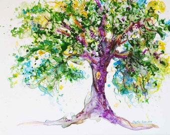 Tree of Purple Art  - Sweet Tree full of life WaterColour Print 8x10