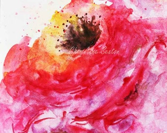 Fuschia Poppy Rose Flower bright sunny cheerful poppy blossom - flower art - art gift - ORIGINAL watercolour by CheyAnne Sexton bright pink