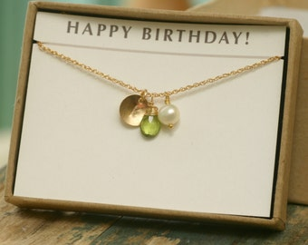 Personalized peridot necklace, August birthstone necklace, monogram necklace - Ella