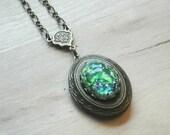 Victorian Cameo Locket Victorian Jewelry Cameo Necklace Victorian Necklace Locket Necklace Green Cameo Locket  Green Magnesite Gemstone