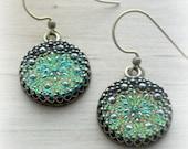Green Earrings Green Glass Earrings Starburst Earrings Starburst Jewelry Glass Button Jewelry Green Jewelry Czech Glass Earrings