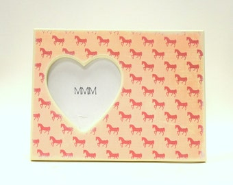 Horse Picture Frame, Pony Photo Frame With Heart Cut Out, Girls Bedroom Decor, I Love Horses, Pink Pony Picture Frame, Equestrian, Girly