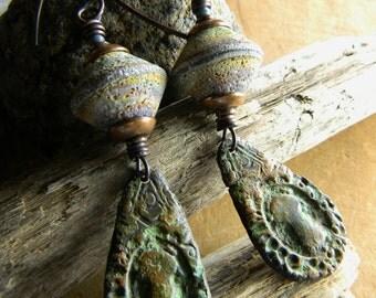 Boho Bohemian Jewelry Pewter Earrings Rustic Copper Green Crusty Lampwork OOAK