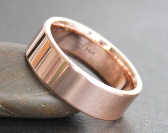 14K Solid Rose Gold Ring - 6x1.5mm Heavy Rectangle Band - Simple UNISEX Wedding Ring (Size 4-12)