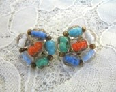 Vintage Cluster Earrings ~ Clip Ons ~  Colorful Glass Beads ~ Italy ~ Murano