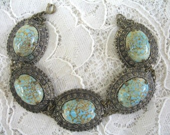 Vintage Turquoise Matrix Bracelet