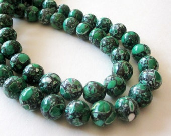 "Green Mosaic Round Beads - Smooth Natural Gemstone - Green Magnesite Turquoise - DIY Jewelry - 10mm - 16"" strand - Necklace Beads"